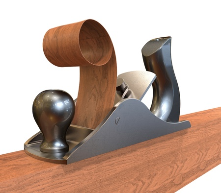 3d render of  planer on wood  photo