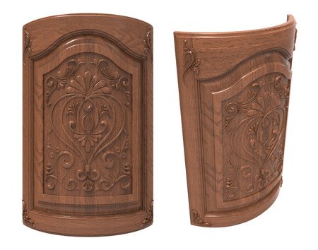 wood carving door: Curved wooden door on a white background