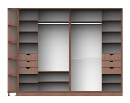 3d render of wardrobe with shelves on a white  photo