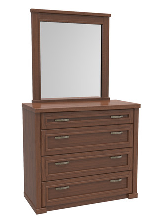 Wooden chest of drawers with a mirror on a white background photo