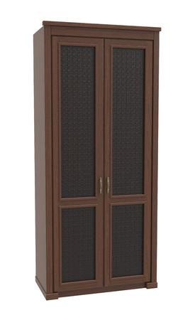 Kleiderschrank Aus Holz Auf Einem Weißen Hintergrund Lizenzfreie