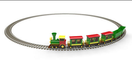 Plastic toy train on white background photo