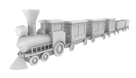 3d render of toy train on white background photo