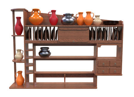 wooden shelves: 3d render of wooden shelves for plates on a white background