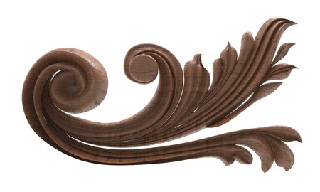 wood carving: 3d rendering of a pattern of wood carving on a white background Stock Photo