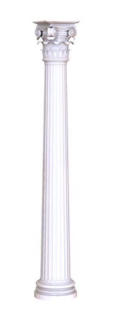 architectural styles: 3d render of classic white column on a white background