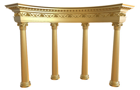 archway: 3d render of gold colonnade on a white background