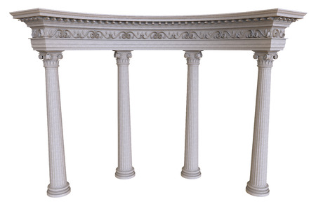 stone background: 3d render of stone colonnade on a white background