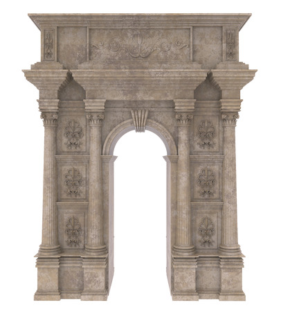 stone arch: 3d render of Classic stone arch with columns on a white background