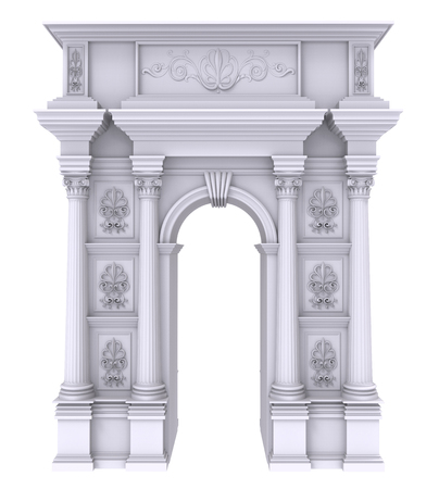 stone arch: 3d render of Classic white stone arch with columns on a white background Stock Photo