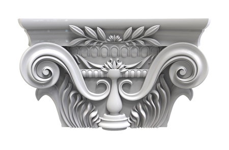 stability: 3d render of Classical white column pedestal on a white background
