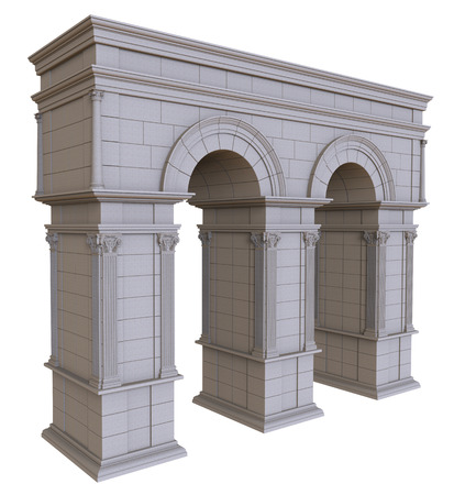 stone arch: 3d render of double stone arch with columns on a white background