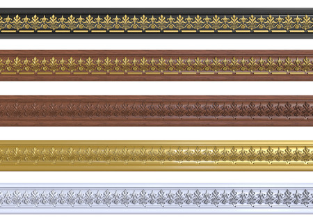 molding: 3d render of decorative cornices with ornaments on a white background