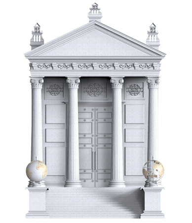 headquarter: 3d render of Bank Building on a white background