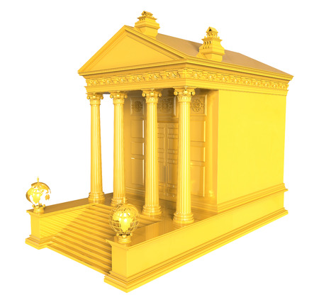 3d render of Gold Financial Institution on a white background