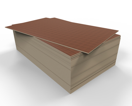 sawdust: 3d render of a stack of particle boards on a white background