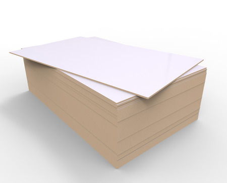 chipboard: 3d render of white chipboard on a white background