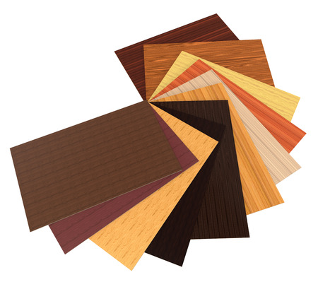 chipboard: 3d render of different colors of particle boards on a white background Stock Photo