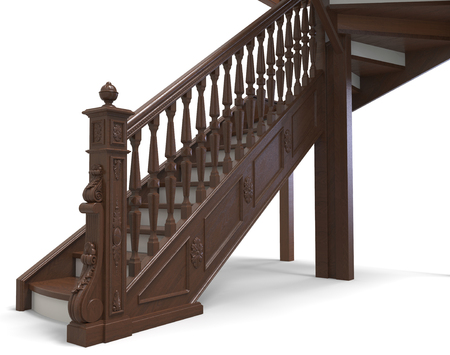 3d render of a wooden staircase with thread