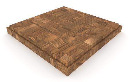 白いバックグラウンドに木製のキッチンのまな板の3Dレンダリング 写真素材