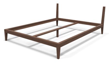 3 rendu d'un cadre de lit en bois sur un fond blanc Banque d'images - 87801461