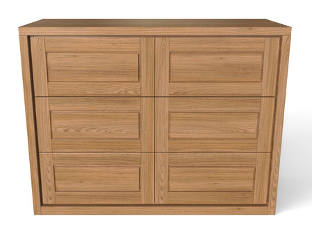 3d render of a large wooden chest of drawers on a white background Stok Fotoğraf