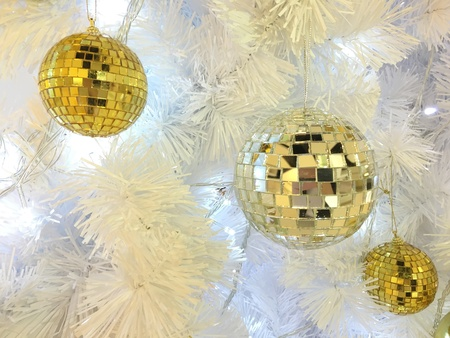 gold: Silver and gold mirror ball in christmas festival.