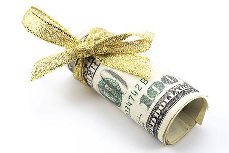 copula: Dollars with golden ribbon Stock Photo