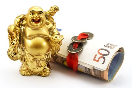 chinese buddha: Gold laughing Buddha with money and chinese coins