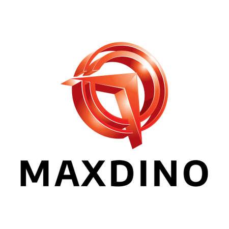 Maxdino icon on white background, vector illustration.