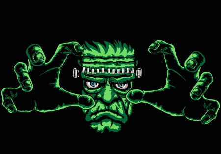 monster movie: frankenstein monster, black background is easy to replace with another color