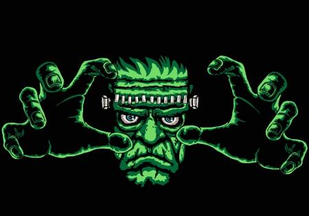 Monstruo de Frankenstein, fondo negro es fácil de reemplazar con otro color Foto de archivo - 23932150
