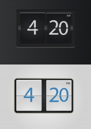 flip chart: analog flip clock vector numbers are easy to replace Illustration
