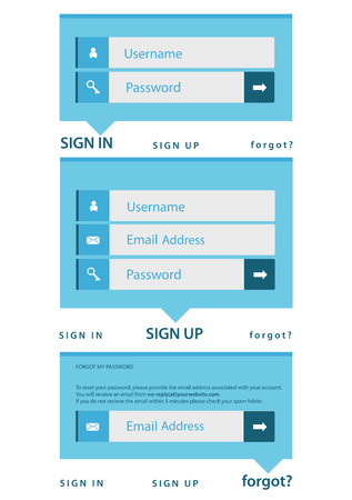 modern log in, sign in, sign up page interface  light background Vector