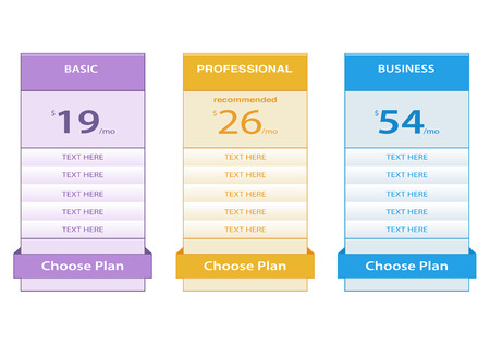 simple pricing tables Illustration