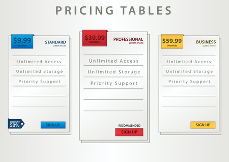 pricing tables Illustration