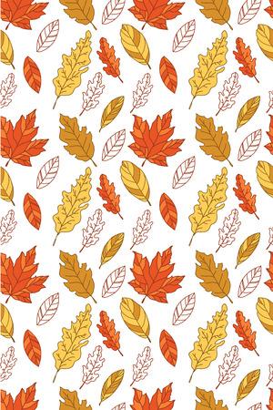 autumn leaf seamless pattern Illustration