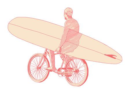 tabla de surf: hombre llevando la bicicleta paseo en tabla de surf Vectores