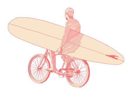 man carrying surf board ride bicycle  Vector