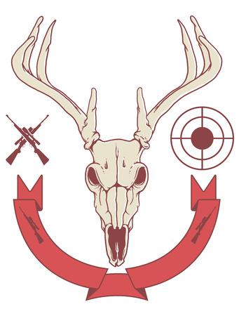 deer skull trophy with banner