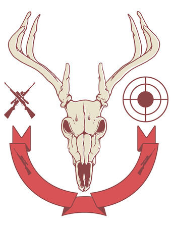deer hunter: deer skull trophy with banner