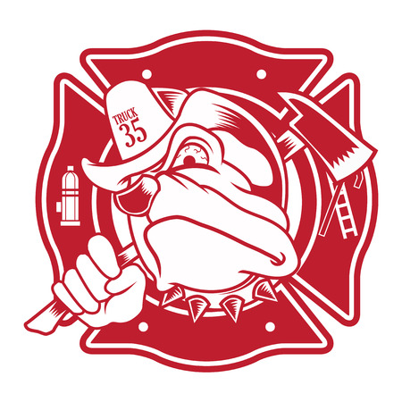 firefighter bulldog mascot Vector
