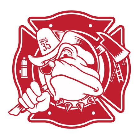 borne fontaine: pompier bouledogue mascotte Illustration