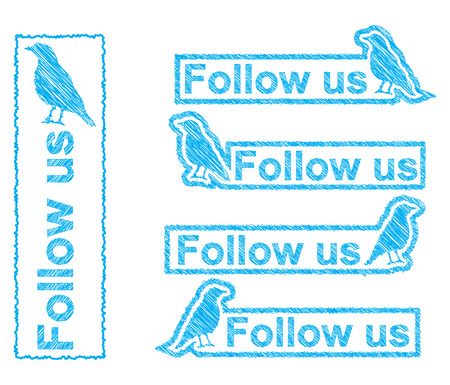 sketchy blue bird with follow us button sign