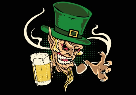leprechaun holding beer Illustration