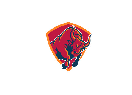 red bull: angry bull sport mascot  Illustration