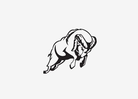 borrego cimarron: rams mascota del deporte Vectores