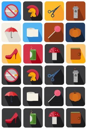 cigar smoking woman: round icons set 21 Illustration