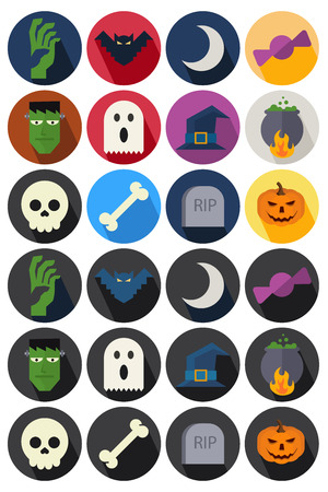 flat icons halloween Vector