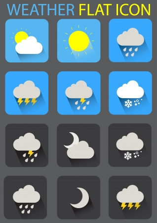 weather flat icons  Ilustrace